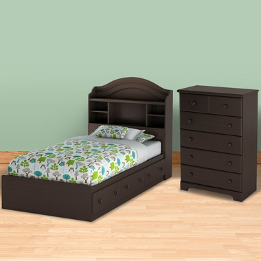 Chocolate Morning Dew Twin Bookcase Headboard, Mates Bed and 5 Drawer Dresser by SouthShore
