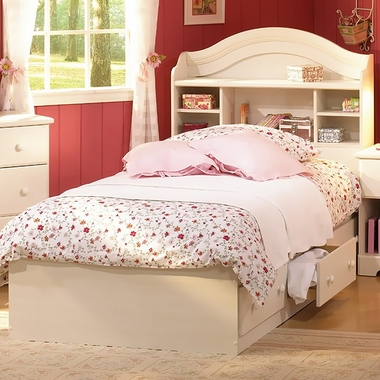 Vanilla Cream Summer Breeze Twin Bookcase Headboard and Twin Mates Bed by SouthShore