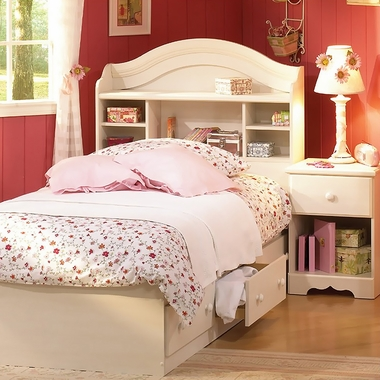 Vanilla Cream Summer Breeze 3 Piece Bedroom Set - Twin Bookcase Headboard, Twin Mates Bed and Nightstand by SouthShore