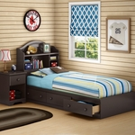 Chocolate Morning Dew Twin Bookcase Headboard, Mates Bed and Nightstand by SouthShore