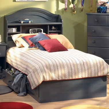 Blueberry Provincetown Twin Bookcase Headboard and Twin Mates Bed by SouthShore