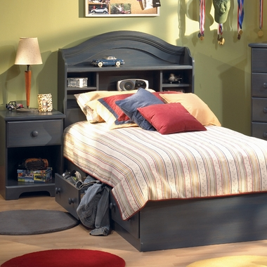 Blueberry Provincetown 3 Piece Bedroom Set - Twin Bookcase Headboard, Twin Mates Bed and Nightstand by SouthShore
