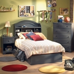 Blueberry Provincetown 4 Piece Bedroom Set - Twin Bookcase Headboard, Twin Mates Bed, 5 Drawer Chest and Nightstand by SouthShore