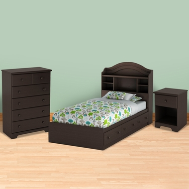 Chocolate Morning Dew Twin Bookcase Headboard, Mates Bed, 5 Drawer Dresser and Nightstand by SouthShore