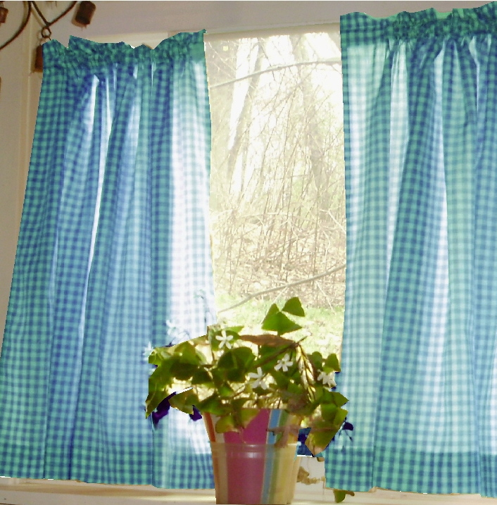 Exceptionnel Turquoise Gingham Cafe Curtains