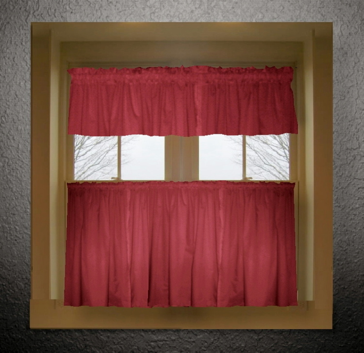 solid colored tier kitchen cafe curtains in 66 colors dropship or - Red Cafe Ideas