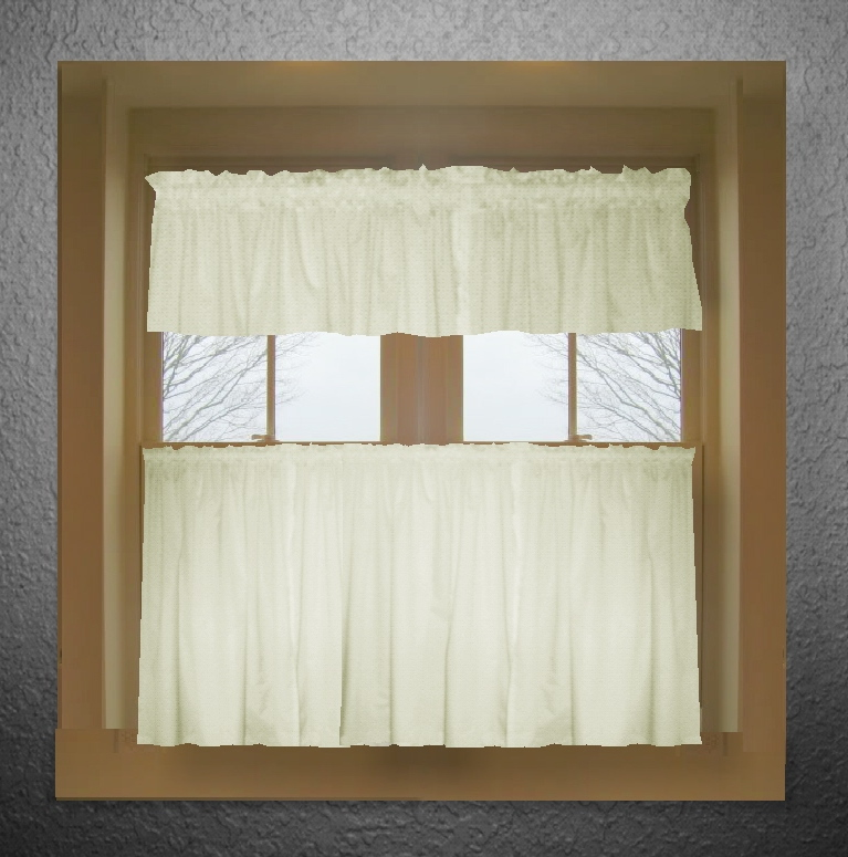 White Kitchen Valance solid colored tier kitchen/cafe curtains in 44 colors- dropship or