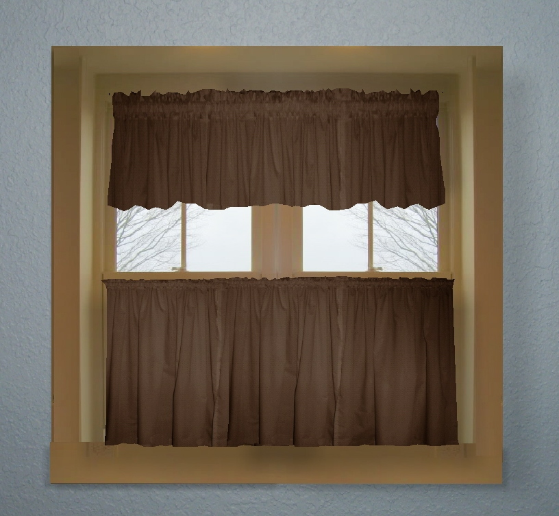 Brown Cafe Curtains And Valance