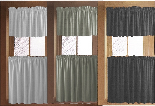 Gray Kitchen/Cafe Tier Curtains