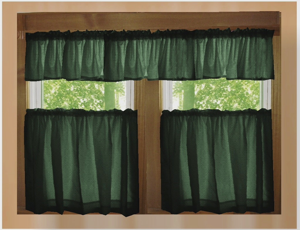 solid dark forest green kitchen/cafe tier curtains