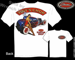 Hot Rod T Shirt 32 Ford Shirts 1932 5 Window Tiny's Chop Pin Up Girl Tee