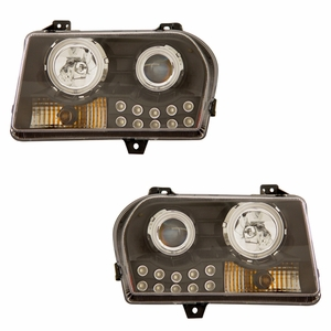 Chrysler 300 05-up Projector Head Light Halo L.E.D Black Clear (CCFL) - Click to enlarge