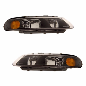 Chrysler Sebring 97-00 Head Light 2 DR Black Amber - Click to enlarge