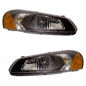 Chrysler Sebring 01-04 Crystal Head Light Black Amber - Click to enlarge