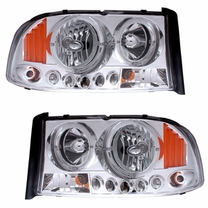 Dodge Dakota / Duranngo 97-04 / 98-03 1 PC L Head Light Halo Chorme with Amber - Click to enlarge