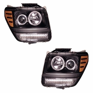 Dodge Nitro 07-08 Projector Head Light Halo G2 Black Clear Amber with LED(CCFL) - Click to enlarge