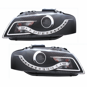 Audi A3 06-09 Projector Head Light Black Clear(R8 LED Style) - Click to enlarge
