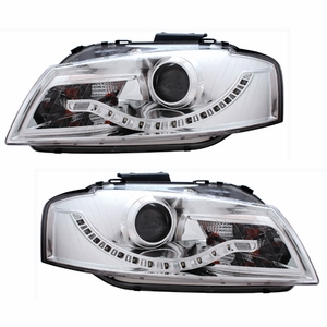 Audi A3 06-09 Projector Head Light Chrome Clear(R8 LED Style) - Click to enlarge