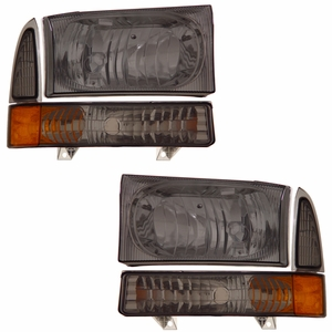 Ford Excursion 00-04 / Super Duty 99-04 Head Light w/ Corner Light Smoke Amber - Click to enlarge