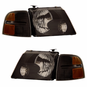 Ford Explorer 02-05 Head Light Black with Corner Light Amber - Click to enlarge