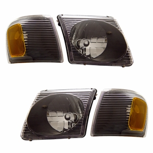 Ford Explorer Sport Trac 01-05 Crystal Head Light with Corner Light Black Amber - Click to enlarge