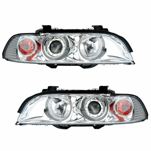 Bmw 5 Series E39 95-01 Projector Head Light Halo Chrome Clear Amber Reflector - Click to enlarge