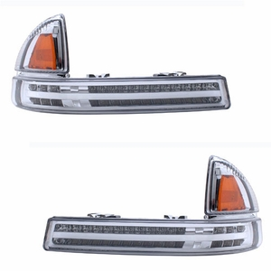 Dodge Dakota / Duranngo 97-04 / 98-03 L.E.D Front Bumper All Chrome Amber (Parking Lights) - Click to enlarge