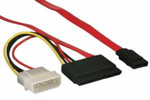 18 Inch Serial ATA Cables 180 degree with 15 Pin Power Adaptor - Click to enlarge