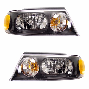 Lincoln Navigator 98-02 Head Light Black Amber - Click to enlarge