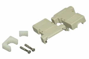 Beige DB9 Plastic Snap-In BackShell Short Screw - Click to enlarge
