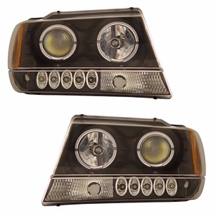 Jeep Grand Cherokee 99-04 Projector Head Light Halo Black Clear Amber - Click to enlarge