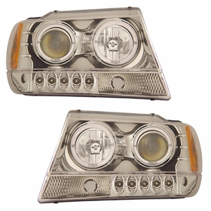Jeep Grand Cherokee 99-04 Projector Head Light Halo Chrome Clear Amber - Click to enlarge