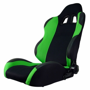 Turino Sport Series - Sport Car Racing Seat (Indy) Black / Green (Left) - Click to enlarge