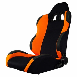 Turino Sport Series - Sport Car Racing Seat (Indy) Black / Orange (Left) - Click to enlarge