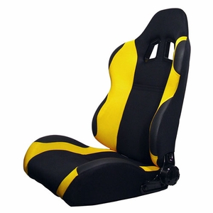 Turino Sport Series - Sport Car Racing Seat (Indy) Black / Yellow (Left) - Click to enlarge