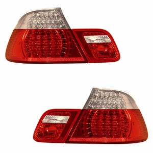 BMW 3 Series E46 99-08 Convertible L.E.D Tail Light Set Red / Clear 4pcs - Click to enlarge