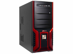368 Soho Black w / Decorative Red Stripes Front Panel Case w / 480W Power Supply - Click to enlarge