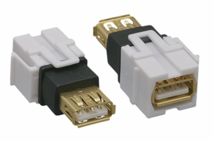 USB 2.0 A Female to A Female Keystone Insert Flush - Click to enlarge