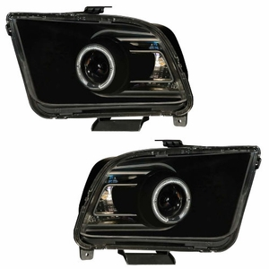 Ford Mustang 05-09 Projector Head Light Halo Black Clear (2010 Style) - Click to enlarge