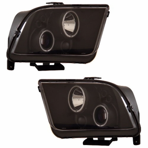 Ford Mustang 05-09 Projector Head Light Halo Black Clear (CCFL) - Click to enlarge