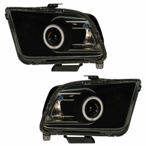 Ford Mustang 05-09 Projector Head Light G2 Halo Black Clear (CCFL) (2010 Style) - Click to enlarge
