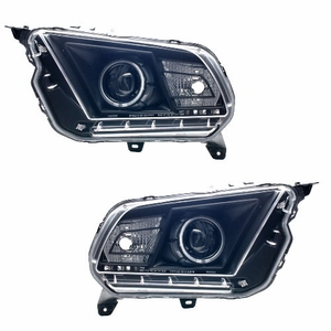 Ford Mustang 10 Up Projector Head Light Halo Black Clear (Hid Compatible&CCFL) - Click to enlarge