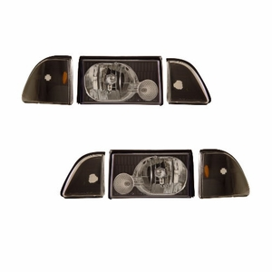 Ford Mustang 87-93 Crystal Head Light Black Set W/ Corner & Parking Light - Click to enlarge