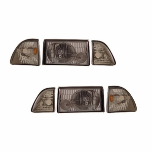 Ford Mustang 87-93 Crystal Head Light Smoke Lens Set W/ Corner & Parking Light - Click to enlarge