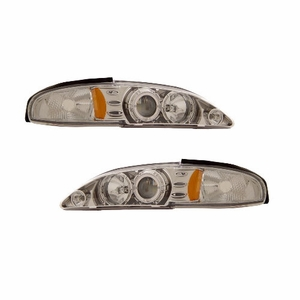 Ford Mustang 94-98 1 Pc Projector Head Light Halo Chrome Clear Amber - Click to enlarge