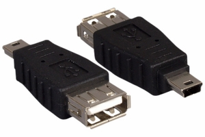 USB A Female/Mini 5 Pin Male - Click to enlarge