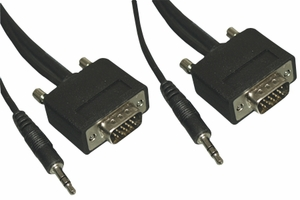 35 Feet Slim Wire and Hood Micro S-VGA Cable with 3.5mm Stereo Audio - Click to enlarge