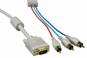3 Feet Beige 3 Mini Coaxial VGA Monitor Cable - Click to enlarge