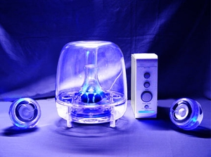 2.1 + 1 Multimedia Clear Speaker w/ Blue LEDs - Click to enlarge