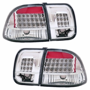 Honda Civic 96-98 4DR L.E.D Tail Light 4pcs All Chrome - Click to enlarge